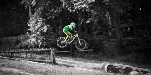 rider on downhill bike